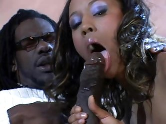 Horny ebony chick is driving her black dude so crazy
