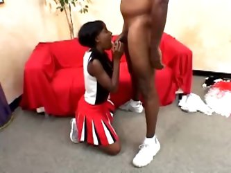 Pigtailed cheerleader Lady Armani gets her black cunt slammed