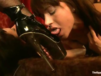 Superb girls get their pussies drilled in hot bondage vid