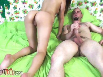 Slutty Porn Girl Bliss Sucking and Riding a Hard Wanger
