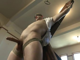 Hog tied Kurt Von Ryder gets his dick sucked by a man