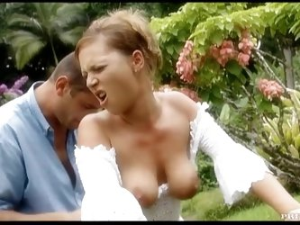Betty with a fine ass is having some hot anal outdoors