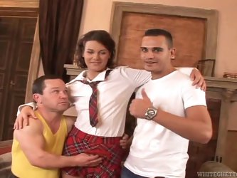 Brown-haired hottie Gloria enjoys riding a dwarf's hard cock