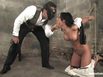 Soolin Kelter gets her mouth and Asian pussy drilled in BDSM scene