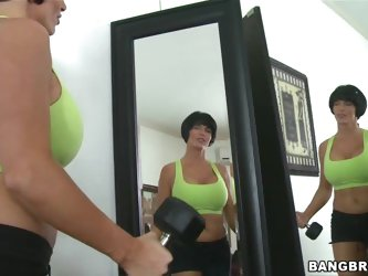 Shay Fox is not shy at all! After working out she likes playing with her perfectly round shaped knockers and masturbating in front of the mirror so...