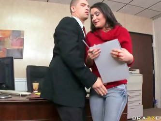 Today is Bruce Venture job interview and she's dressed to impress. Take a look at this hot brunette and how she gets the position as she fucks he