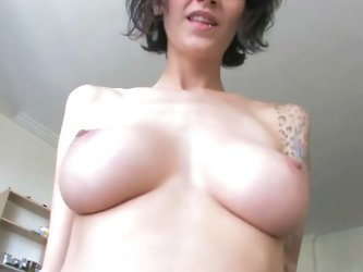 Another mind-boggling POV sex video from sweet little alt superstar Kayden - go ahead and see this tattooed busty bouncing on top of your shaven cock!