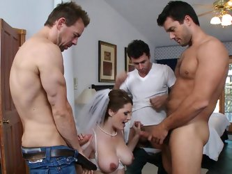 Busty hottie gets nailed by horny males in wild session of group action