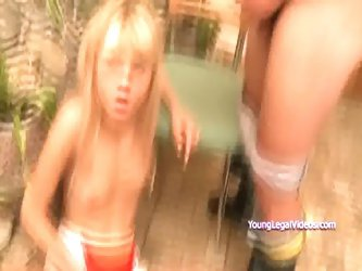 Cute blonde Loly gives blowjob