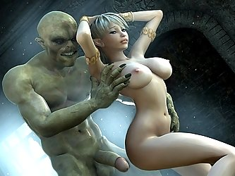 A beautiful girl and a monster are about to have hot 3d sex.