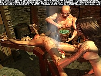 The 3d torture picture is all pain for the girl bound in the dungeon.