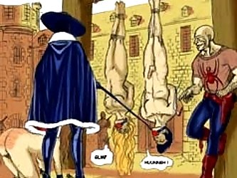 The BDSM toon shows old school torture from a lord and his man.