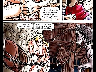 The BDSM comic features much pain for the blonde big titty whore.