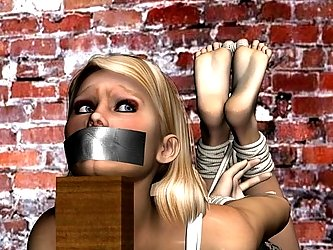 The hog tied 3d girl has big tits and a pretty face in her BDSM picture.