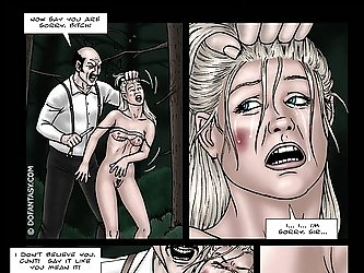 He cuts her breasts with a sharp knife and they bleed in the BDSM toon.