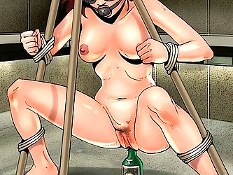 The tied slave fucks a bottle in the beautiful BDSM cartoon picture.