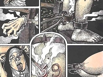 The sweet nun is punished hard in the BDSM comic and it hurts.