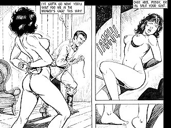 The busty slut in the BDSM comic is put in a cage by her master.