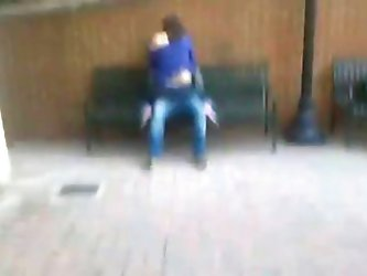 Students humping on a bench in public
