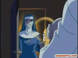 Nun hentai gets her clothes ripped of and licked by hentai monster movies by www.grabhentai.com