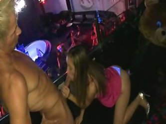 Girls blowing cocks on party
