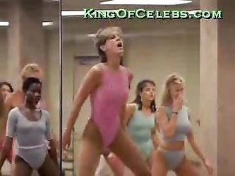 Jamie Lee Curtis working out in a see-through suit