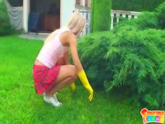 Sabrina Blond Works In Garden