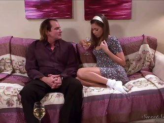 Evan Stone is a hot babysitter who stayed late to chat with her boss named Riley Reid. After a couple of minutes they were all over one another and he