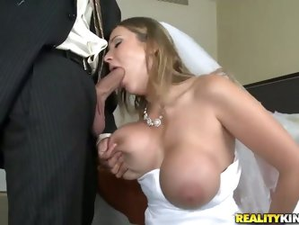 Her groom is absolutely drunk! However sexy bride Alanah Rae does no want to spoil te moment of the wedding night and enjoys the huge cock of the groo