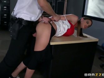 Adorable tempting and wet schoolgirl brunette Brooklyn Chase with big natural knockers and heavy make up in red bra gets shaved cunny and ass banged b