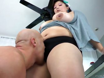 Hot chubby brunette Asian goddess Kelly Shibari teases with her huge tits and gets worshiped by one horny bald guy - ass and pussy lick hardcore video