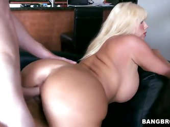 Attractive lusty experienced blonde Karen Fisher with huge fake balloons and big juicy ass gives awesome blowjob to her handsome lover and gets fucked