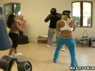 Beautiful babes with amazing fit bodies Molly Cavalli and her best girlfriend Renna Ryann are having an intensive workout with their handsome coach. E