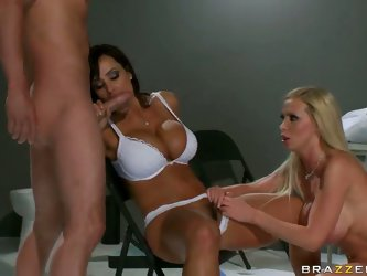 Lusty blonde Nikky Benz with cheep make up and randy black haired milf Lisa Ann with gigantic tits and round stunning ass in white bra give amazing bl