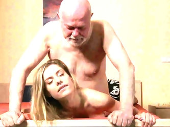 Young Secretary Fucks old man boss fucks beautiful girl
