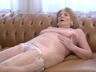 This old slut probably thought her days of great sex were over, but the young man loves an ancient pussy wrapped around his dick. He makes her moan wi