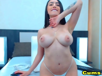 Big Tits Babe With A Nice Ass Fucks With Big Dildo