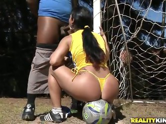 All Latinas love soccer! And Dani Lopes is not an exclusion! Our horny as hell Latina demonstrates right on the playing field how much she loves to pl