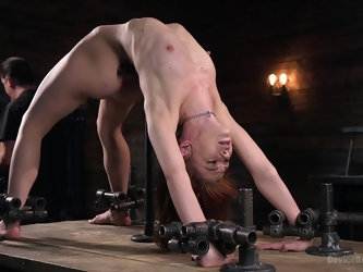 Enslaved girl endured a lot of BDSM action on her tiny holes