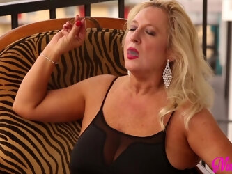Sexy Smoking Fetish Mature Blonde MILF blows smoke with Cigarettes in Heels