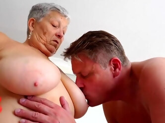 Chubby British granny with short hair, Savana is getting a horny man's large meat stick