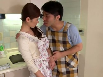 Small tittied Asian housewife and three horny guys arrange dirty sex fun in the kitchen. They feel up her small ninnies and make her suck their small