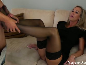 While her husband is busy at work slutty blond housewife does her best pleasing a neighbor. Ardent slut sucks his dick for cum and rides it as if ther