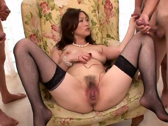 She is Japanese mom with seductive classy look. She is wearing nothing but pearl jewelry. Watch her going dirty and wild in a steamy Jav HD porn vid.