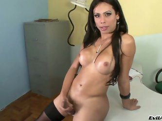 Bruna B is a gorgeous shemale model with long dark hair, round tits and hard dick. Mouth-watering transsexual goddess in black stockings jerks at the