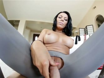 Exciting chick with cool forms of body Rachel Starr stays in ripped spandex leggings. She gives handjob to dude making his tool hard before riding it