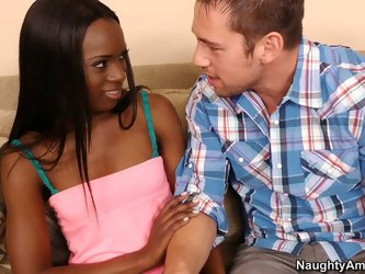 White cock is about to nail black pussy. Ana wants to try some white meat and seduces that douchebag to eat her big labia cunt.
