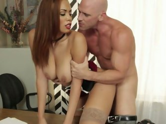 Beefcake bald freak attacked wet kitty of his stacked mulatto babe from behind tough.Look at that hard porno in Naughty America sex clip!