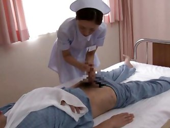 Nurse Yuri was told to get a sample from the patient in Room 115. The only problem is, it's a semen sample and he has a broken arm. So, she has t
