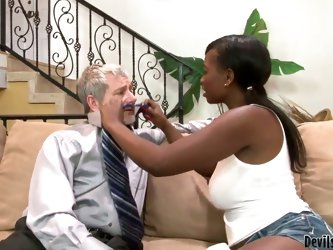 Amazing interracial scene with American old man and hot black sexy bitch Jessica Grabbit. She sucks his old dick and waits for a tasty cumshot. This o